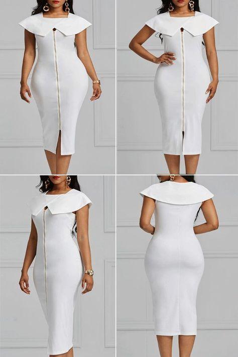 eb6783e336fcc4 Ericdress Bodycon Zipper Plain Women's Dress#dress#fashion#women#Bodycon