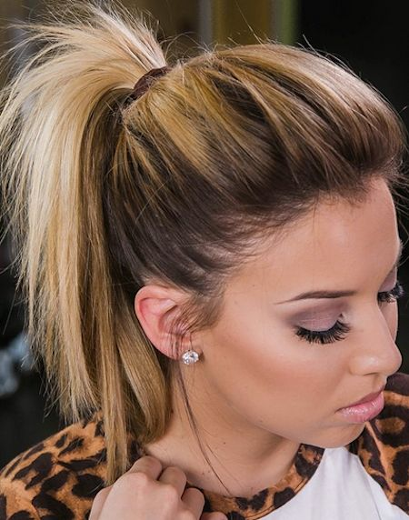 Short ponytails - Cute hairstyle is a messy undone ponytail that has the front teased.