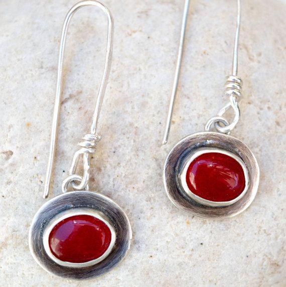 Red stone earrings Sterling silver earrings Dangle by SILVERstro