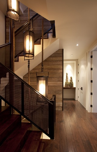 The Hillside House modern staircase: Hanging Lights, Architects, Stairs, Lights Fixtures, Modern Stairca, Ropes, House, Lanterns, Wood Wall