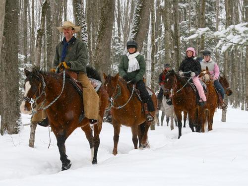 Boyne Mountain ~ horse back riding in the snow!  Love!!