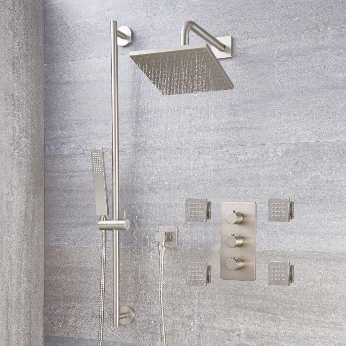Arcadia Thermostatic Brushed Nickel Shower System With 8 Shower