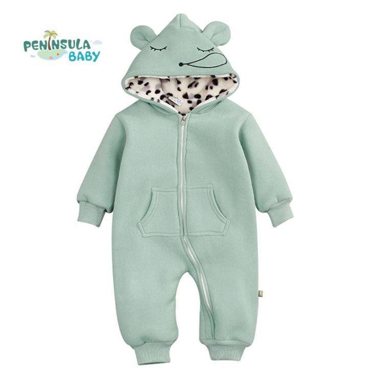 Winter Thick Warm Baby Rompers Cute Animal Hooded Jumpsuits Newborn Boys Clothes Cotton Infant Girls Costume Toddler Outerwear