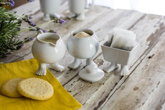 What an odd and delightful little Coffee Set:  Ceramic Creamer and Sugar Bowl with by DylanKendallHome