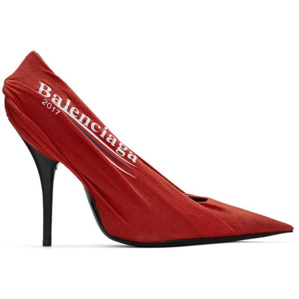 Balenciaga Red Campaign Logo Knife Heels (€945) ❤ liked on Polyvore featuring shoes, pumps, red, red jersey, red pointed toe shoes, red pumps, balenciaga shoes and red leather pumps
