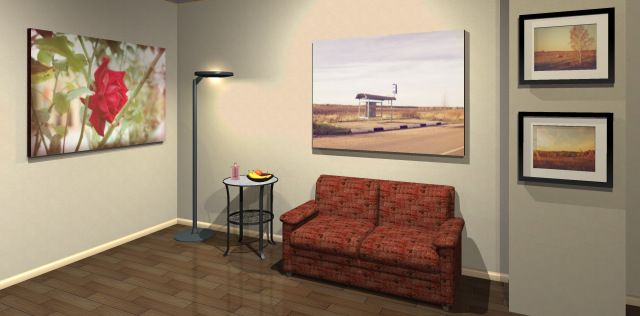 Printed matte photos view in the 3D interior