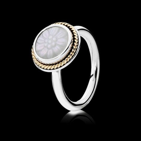 Pandora Mother of Pearl Silver and Gold Ring