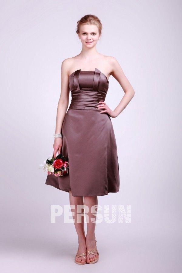 #Vestido de #Dama de #Honor #Hasta la #Rodilla de Satén Marrón con Strapless Volante - Persun.es