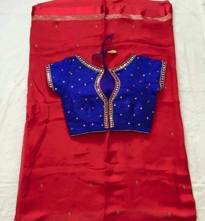 Mirror work ChiffonsGeorgette Sarees paired up with
