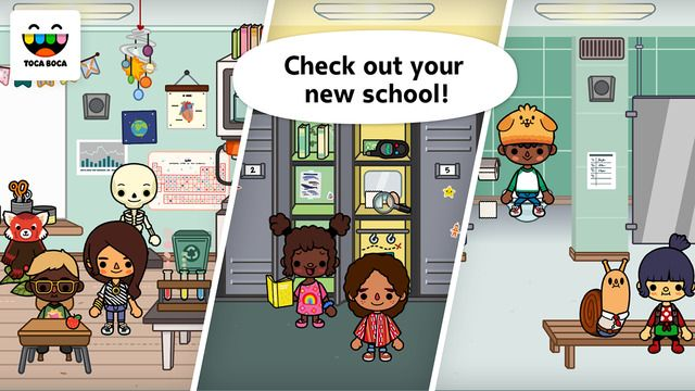 Toca Life: School by Toca Boca ($2.99) Teach a class, pick a locker and have a food fight in the cafeteria! With five locations and 32 characters, you can create your very own school adventures! Five locations to explore: house, cafeteria, school building, youth club and playground - 32 characters to play with and different outfits to wear - Discover the school building with different themed lockers, a school office and a classroom that includes a lab for experiments!