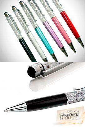 Lapicero con incrustaciones de Cristales Swarovski Elements corte Xilion-Faceta, en 8 colores a elegir y touch pen que se puede usar para cualquier dispositivo móvil