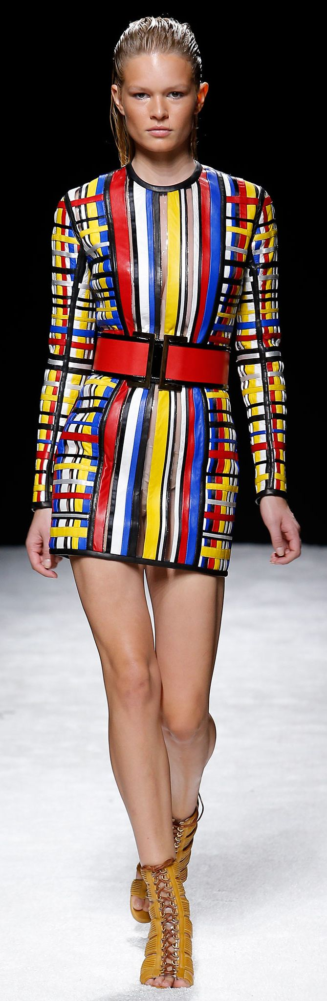 Balmain Spring 2015, this is a great example of how modern designers are still being inspired by the 60's. This dress is inspired Yves St. Laurent mod dress. -IG