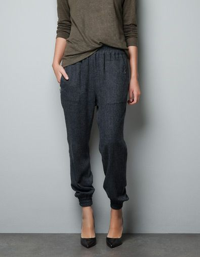 HERRINGBONE HAREM PANTS - Trousers - Woman - ZARA Denmark