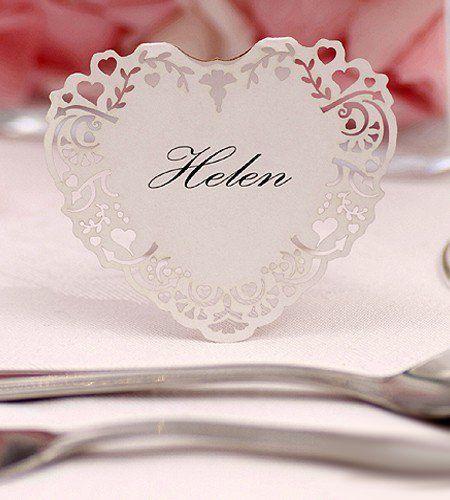 10x Tischkarten Hochzeit Herz Vintage weiß - Tischkarten, Platzkarten, Namenskarten, Platzkartenhalter von Tischkarten by shopingeneur GbR, http://www.amazon.de/dp/B00A1SKIR6/ref=cm_sw_r_pi_dp_DGyDsb06CFPGW