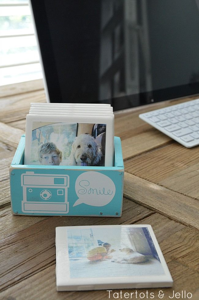 instagram coasters a diy gift idea for anyone on your list at tatertots and jello This could be done with recycled materials-BGS