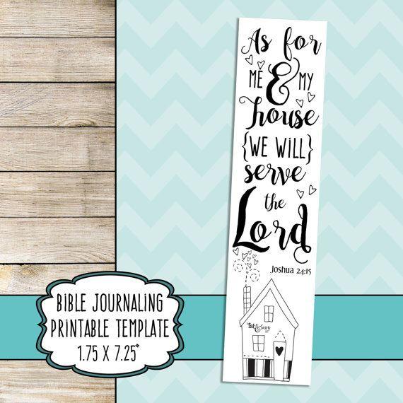 Bible Journaling Printable, Bible Journal Template, Bible Doodle Print, As For Me And My House, Joshua 24:15, Bible Drawing Template, Art