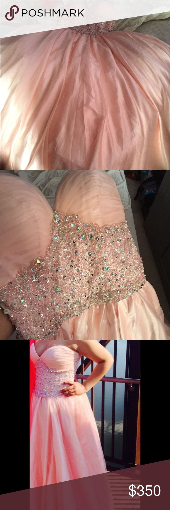 Pink puffy prom dress Long, strapless, sequenced, pink, puffy prom dress Dresses Prom
