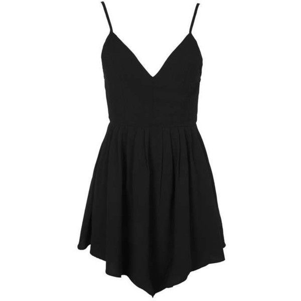 Strappy Summer Dress by Glamorous ($13) ❤ liked on Polyvore featuring dresses, topshop dresses, summer day dresses, v neck dress, v-neck dresses and low cut dresses