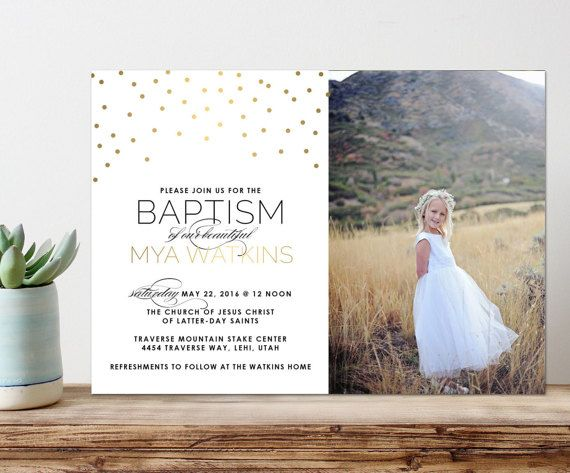 baptism invitation, lds baptism invitation, printable baptism announcement - modern baptism announcement - printable baptism gold dots