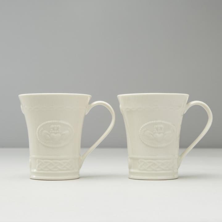 White Set of 4 Belleek Pottery Claddagh Mugs