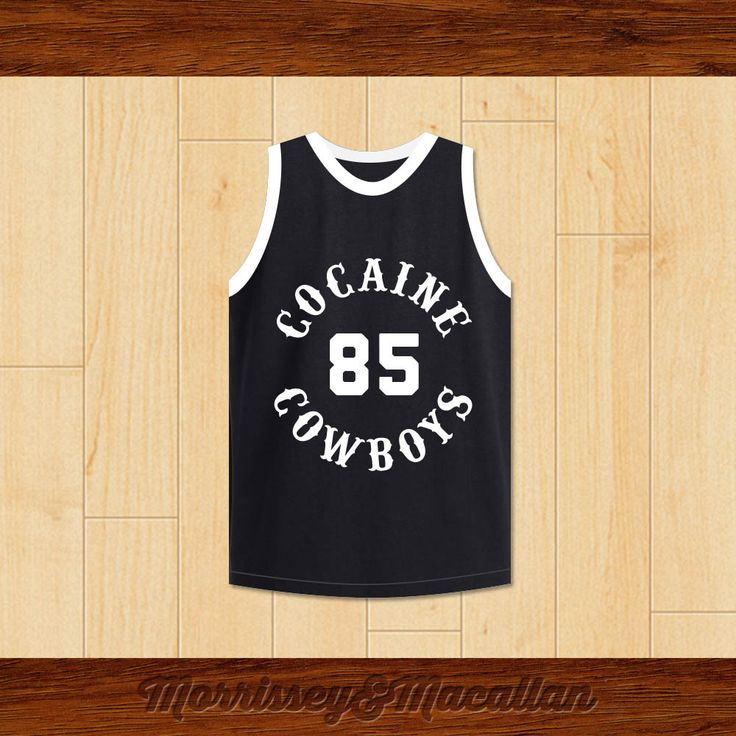 Cocaine Cowboys Powder 85 Basketball Jersey by Morrissey&Macallan. STITCH SEWN GRAPHICS  CUSTOM BACK NAME CUSTOM BACK NUMBER ALL SIZES AVAILABLE SHIPPING TIME 3-5 WEEKS WITH ONLINE TRACKING NUMBER Be sure to compare your measurements with a jersey that already fits you. Please consider ordering a larger size, if you plan to wear protective sports equipment under the jersey. HOW TO CALCULATE CHEST SIZE: Width of your Chest plus Width of your Back plus 4 to 6 inches to account for space for a…