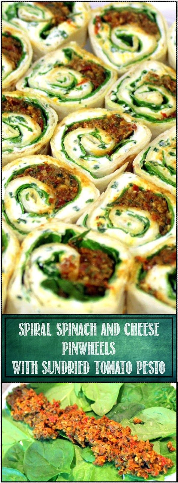 Spiral Spinach and Cheese Bites with Sun Dried Tomato Pesto VERY VERY EASY... Burrito size Tortilla, a Fresh Made Herbed Cream Cheese (with a secret ingredient that makes it smooth and spreadable), A PUNCH of flavor from a Fresh made (or use a jar) Sun Dried Tomato Pesto plus the colorful greens of Spinach combine for a quick easy Appetizer (and inexpensive if you are making dozens)!  Spiral Spinach and Cheese Bites... YUM!