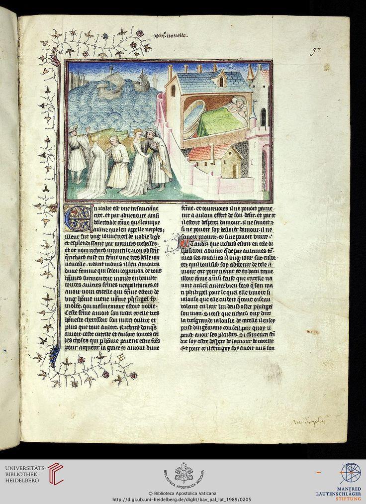 Vatikan, Biblioteca Apostolica Vaticana, Pal. lat. 1989  Boccaccio, Giovanni  Decamerone, französische Übersetzung des Laurent de Premierfait  Bibliotheca Palatina Zitierlink: http://digi.ub.uni-heidelberg.de/diglit/bav_pal_lat_1989   i  URN: urn:nbn:de:bsz:16-diglit-98727   i  Metadaten: METS  IIIF Manifest: http://digi.ub.uni-heidelberg.de/diglit/iiif/bav_pal_lat_1989/manifest.json