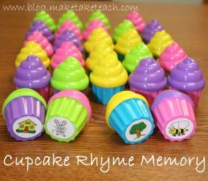 Cute little rhyming game using tiny plastic cupcakes found at Walmart. Free rhyme stickers!