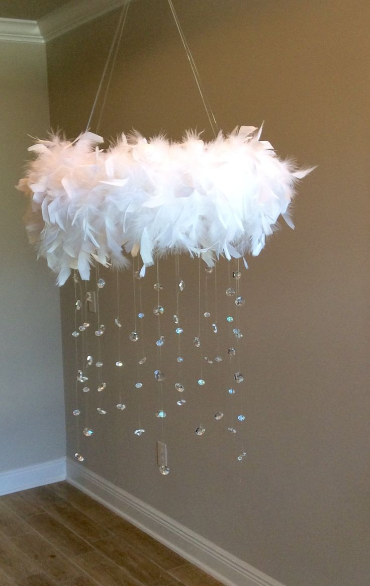 feather crystal baby mobile, princess baby mobile, princess decoration, tutu mobile, baby mobile, ba