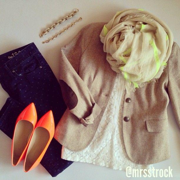 A little dose of neon: polka dot jeans, white top, tan blazer, pops of neon scarf, neon orange heels, gold jewelry