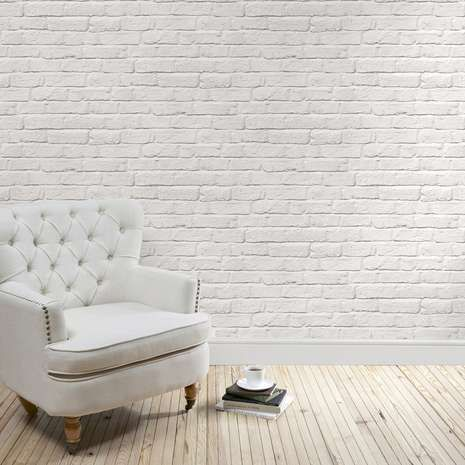 Designed with a photographic brick wall design in a white painted effect, this printed wallpaper features a sophisticated matt finish....