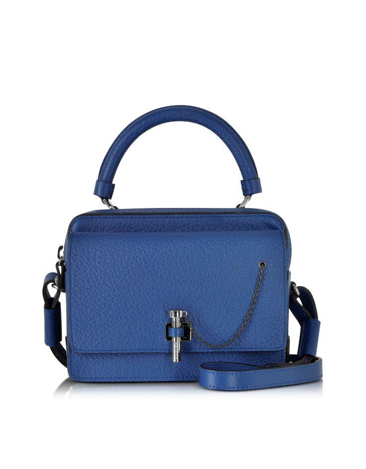 Carven Blue Malher Grained Leather Small Handbag at FORZIERI