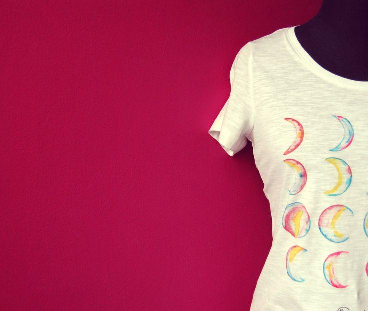 moon T-shirt, watercolor illustration, design, art collection, colorfull, moon phases, imagination di ImImagination su Etsy