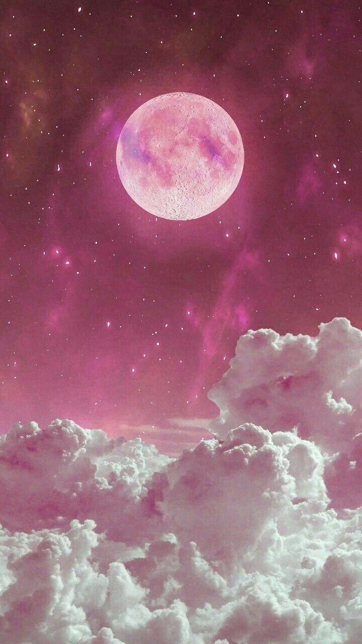 Pastel Pink Wallpaper Cute Pink Moon In 2019