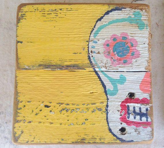 Fun Sugar Skull painted on reclaimed wood.