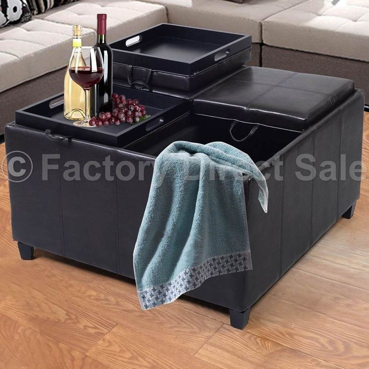 Ottoman Storage Table W/ 4-Tray-Top PU Leather Bench For Coffee Fruit NEW Brown #1