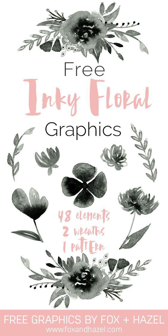 Free Inky Floral Graphics - Fox + Hazel