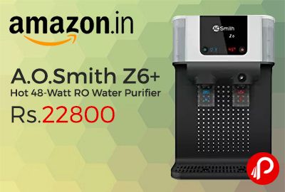 Amazon is offering 7% off on A.O.Smith Z6+ Hot 48-Watt RO Water Purifier at Rs.22800. Purity through 7-stage purification technology, pre-filter, sediment filter, pre carbon filter, side-stream RO membrane, min-tech, silver activated post carbon,   http://www.paisebachaoindia.com/a-o-smith-z6-hot-48-watt-ro-water-purifier-at-rs-22800-amazon/