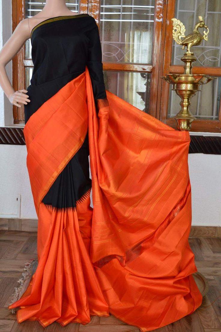 Black with orange half and half pure kanchivaram silk saree with orange zari rich pallu and orange plan blouse. Code: J0717KA081706 Cost: 12500 INR Mail: vasthramsilk@gmail.com Whatsapp: 7019277192 #kanjivaram #kanchipuramsilksaree #purekanchipuramsilksaree