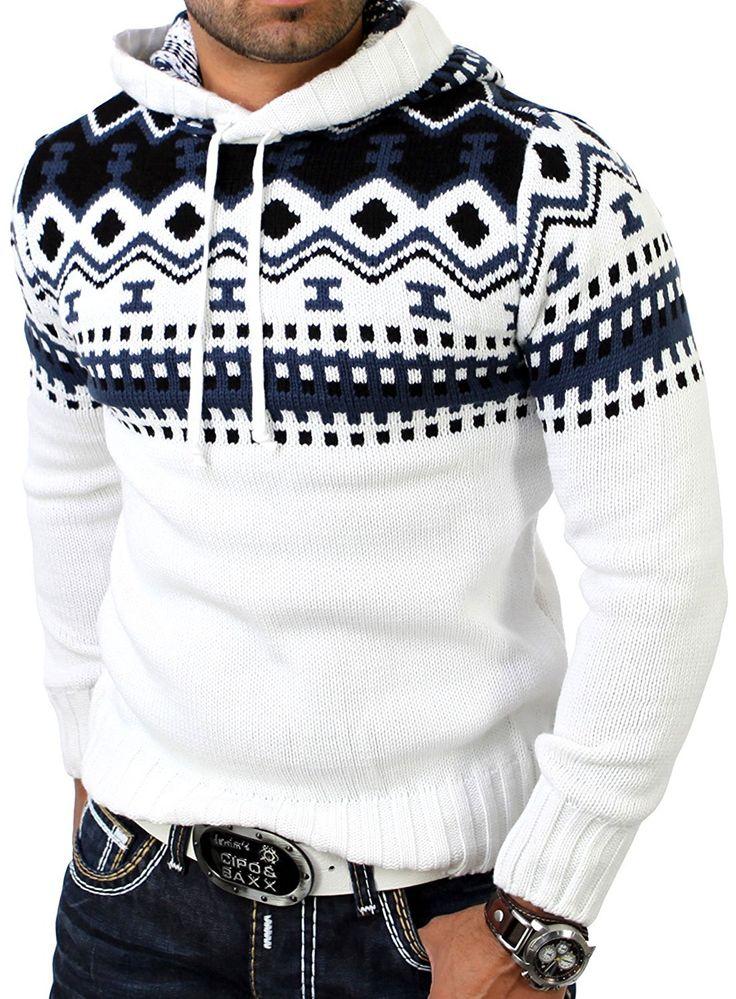 Reslad Herren Grobstrick Pullover Norweger Winter Kapuzenpullover RS-3013 Weiß S: Amazon.de: Bekleidung