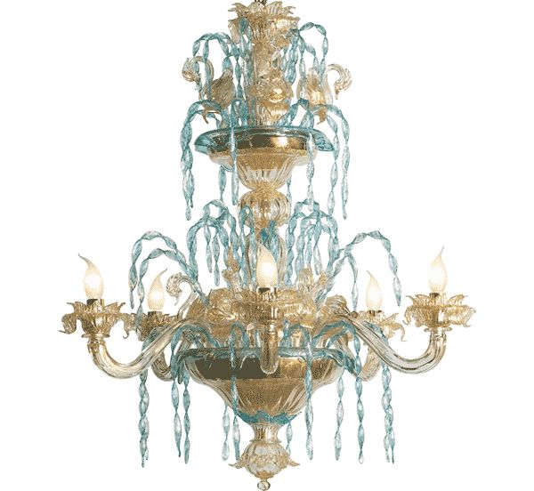 #lampadario #vetro #murano Lampadario classico in vetro di murano con decori azurro e oro. Sistema con 6 luci. H. 92 cm – ø. 85 cm. Disponibili su richiesta varianti di dimensioni e colori.lampadario vetro murano decori azurro oro. > www.danielebiasin.it/portfolio-items/lampadario-classico-in-vetro-di-murano-decori-azurro-e-oro/?portfolioID=10997