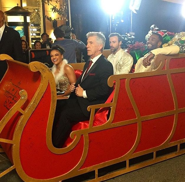 The final 3 (Laurie Hernandez, James Hinchcliffe, and Calvin Johnson) hanging out with Tom Bergeron
