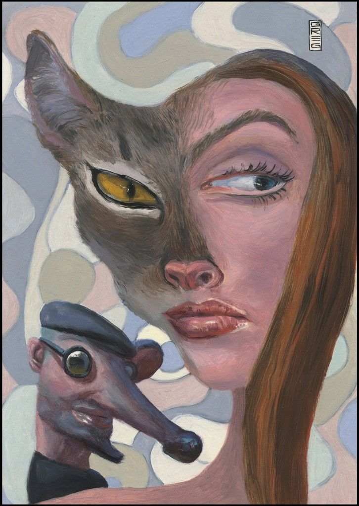 The Subterraneans cat and rat art oil painting by Greg Hergert