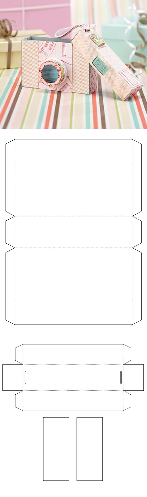 Free camera gift box template - from Papercraft Inspirations magazine (This would make the perfect Silhouette cut file).  http://www.papercraftinspirationsmagazine.co.uk/category/blog/free-camera-gift-box-template.htm
