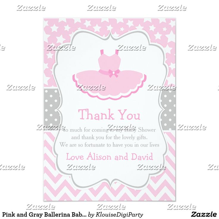 Pink and Gray Ballerina Baby Shower Thank You Card
