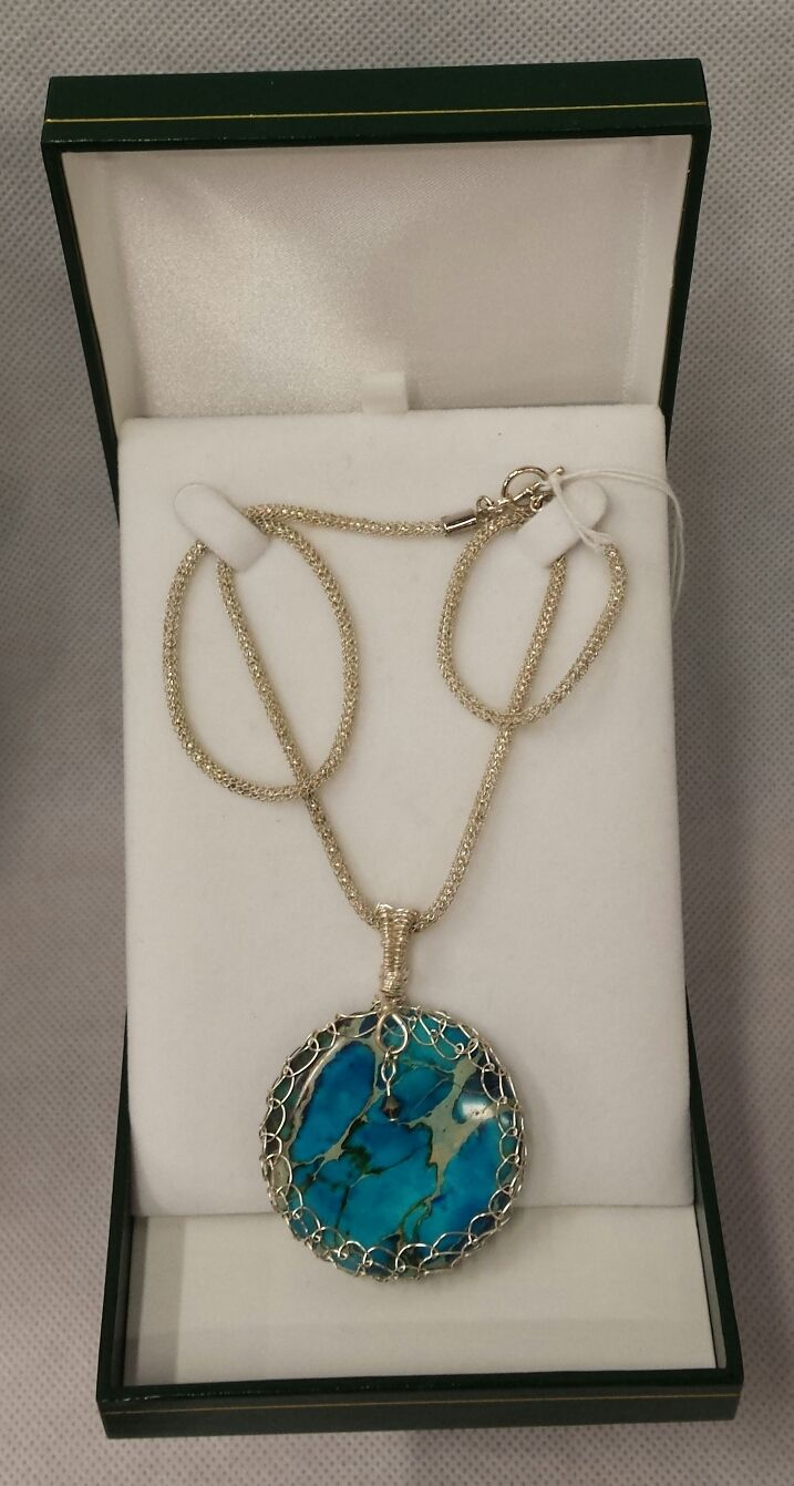 #handmade #nzmade pendant from Pinedance Studios using Venetian/ Italian Murano glass focal beads, strung on Silver Silk knitted wire - available in-store at CraftWorld, Westgate. #pinedancestudios #jewellery