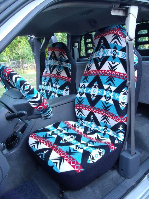 1 Set of Warrior Print seat covers and steering wheel cover custom made....
