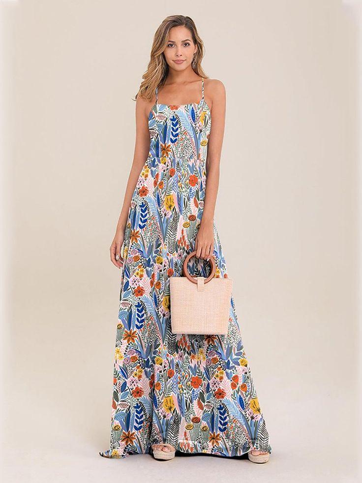 Langes rückenfreies Kleid mit Trägern und rosa Blumen   – Nouvelle arrivage tous les jours