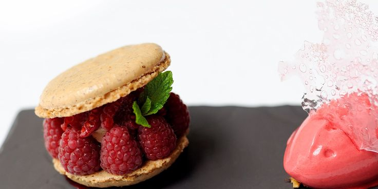 Hazelnut macarons are served with a delicious raspberry sorbet and rose opaline in this joyous recipe from top chef Stephen Crane