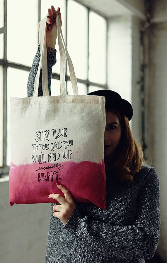 Dark Pink Hand Dip Dye and lettered Cotton Bag